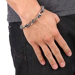 Stainless Steel Skull Bracelet - Thumbnail 1