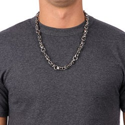 Shop Men s Stainless Steel Skull Chain Necklace (24-inch) - On Sale ... df1d24ee8cda