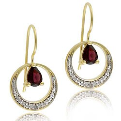 Glitzy Rocks 18k Goldplated Silver Garnet and Diamond Earrings (I-J, I3)