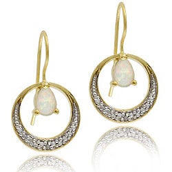 Glitzy Rocks 18k Synthetic Opal and Diamond Earrings (I-J, I3)