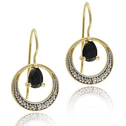 Glitzy Rocks 18k Gold Over Silver Sapphire and Diamond Earrings