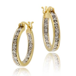 DB Designs 18k Gold over Silver Diamond Accent Hoop Earrings