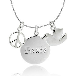 Mondevio Sterling Silver Peace Sign and Dove Charm Necklace