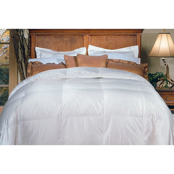 Silk/ Cotton Oversized 650 Thread Count Damask Stripe White Goose Down Comforter