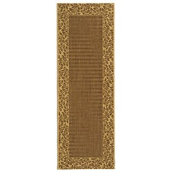 Safavieh Courtyard Brown/ Natural Indoor/ Outdoor Runner - 2'4 x 6'7 - Thumbnail 0