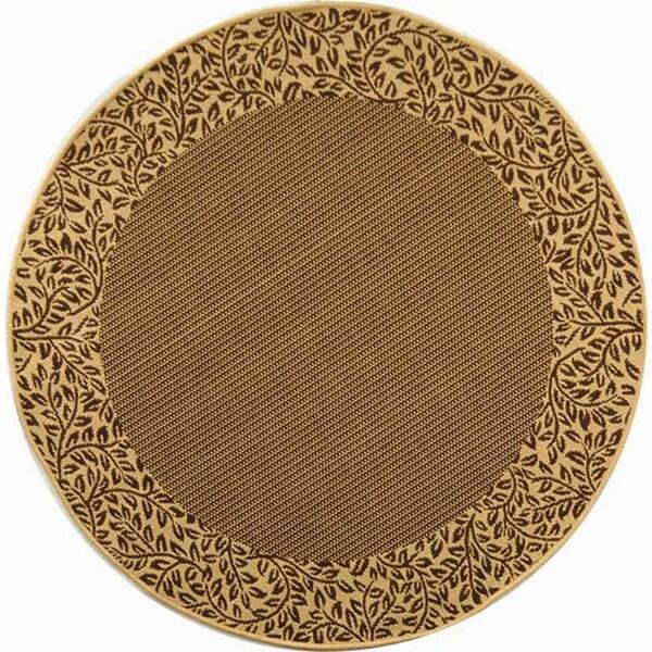 Safavieh Indoor/ Outdoor Brown/ Natural Rug (5'3 Round)