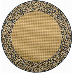 Safavieh Indoor/ Outdoor Natural/ Blue Area Rug (5'3 Round)