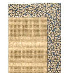 Safavieh Courtyard Natural/ Blue Indoor/ Outdoor Rug (8' x 11') - Thumbnail 1
