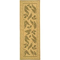 "Safavieh Ferns Natural/ Olive Green Indoor/ Outdoor Runner - 2'4"" x 6'7"""