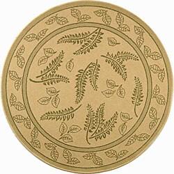 """Safavieh Ferns Natural/ Olive Green Indoor/ Outdoor Rug - 5'3"""" x 5'3"""" round"""