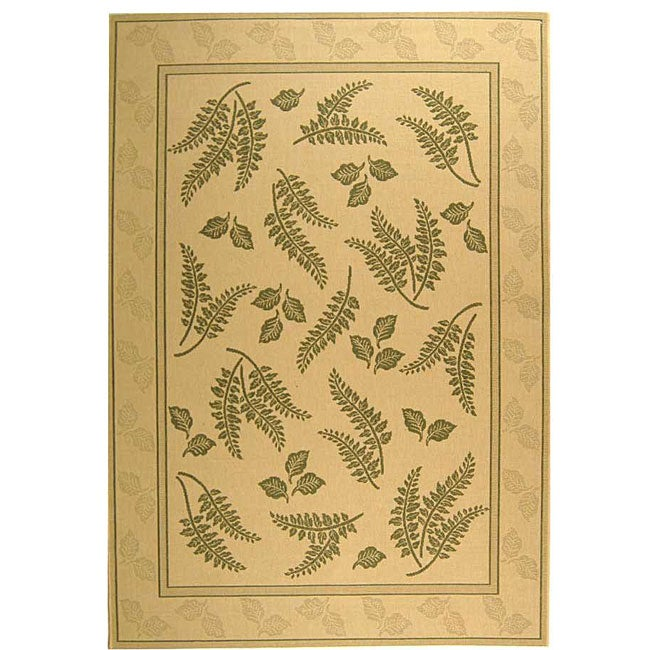 Safavieh Ferns Natural/ Olive Green Indoor/ Outdoor Rug (4' x 5'7)