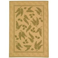 "Safavieh Ferns Natural/ Olive Green Indoor/ Outdoor Rug - 5'3"" x 7'7"""