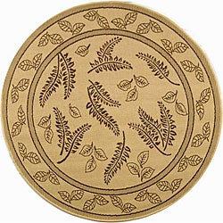 """Safavieh Ferns Natural/ Brown Indoor/ Outdoor Rug - 6'7"""" x 6'7"""" round"""
