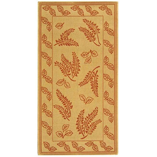 Safavieh Ferns Natural/ Terracotta Indoor/ Outdoor Rug - 8' x 11'