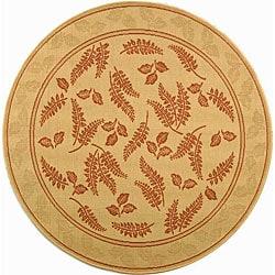 Safavieh Indoor/ Outdoor Ferns Natural/ Terracotta Rug (6'7 Round)