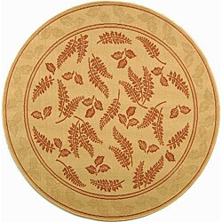 "Safavieh Ferns Natural/ Terracotta Indoor/ Outdoor Rug - 6'7"" x 6'7"" round"