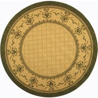 "Safavieh Royal Natural/ Olive Green Indoor/ Outdoor Rug - 5'-3"" x 5'-3"" round"