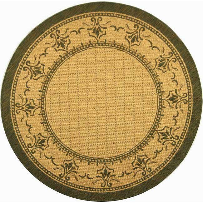 Safavieh Royal Natural/ Olive Green Indoor/ Outdoor Rug (6'7 Round)