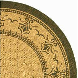 Safavieh Royal Natural/ Olive Green Indoor/ Outdoor Rug (6'7 Round) - Thumbnail 1