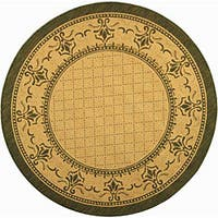 "Safavieh Royal Natural/ Olive Green Indoor/ Outdoor Rug - 6'7"" x 6'7"" round"