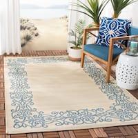 """Safavieh Ocean Natural/ Blue Indoor/ Outdoor Rug - 4' x 5'-7"""""""