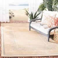 """Safavieh Beachview Natural/ Blue Indoor/ Outdoor Rug - 4' x 5'-7"""""""