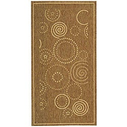Safavieh Ocean Swirls Brown/ Natural Indoor/ Outdoor Rug (2'7 x 5')