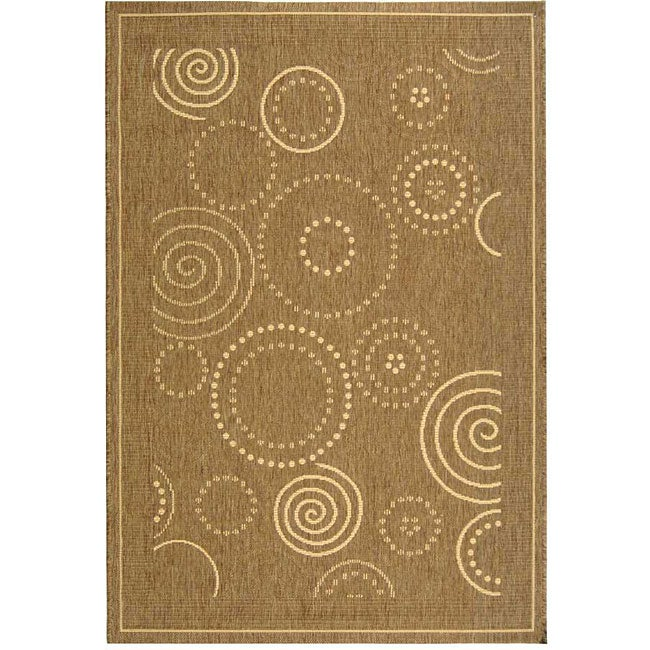 Safavieh Ocean Swirls Brown/ Natural Indoor/ Outdoor Rug - 4' x 5'7