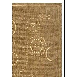 Safavieh Ocean Swirls Brown/ Natural Indoor/ Outdoor Rug (4' x 5'7) - Thumbnail 1