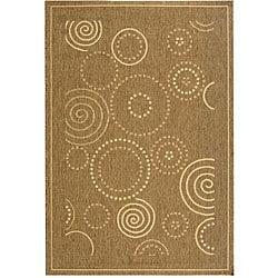 Safavieh Ocean Swirls Brown/ Natural Indoor/ Outdoor Rug - 4' x 5'7 - Thumbnail 0