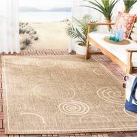 """Safavieh Ocean Swirls Brown/ Natural Indoor/ Outdoor Rug - 4' x 5'-7"""""""