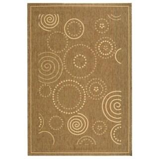 """Safavieh Ocean Swirls Brown/ Natural Indoor/ Outdoor Rug - 4' x 5'7"""""""