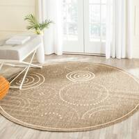 Safavieh Ocean Swirls Brown/ Natural Indoor/ Outdoor Rug (5'3 Round) - 5'3