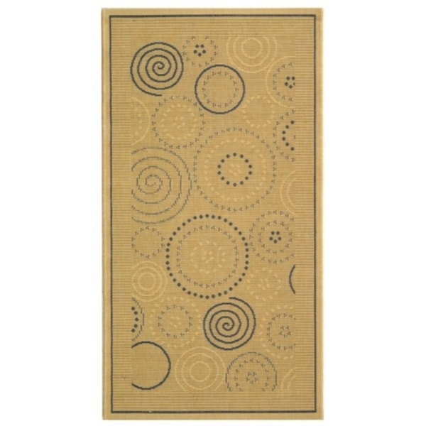 "Safavieh Ocean Swirls Natural/ Blue Indoor/ Outdoor Rug - 2'-7"" x 5'"