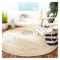 "Safavieh Ocean Swirls Natural/ Blue Indoor/ Outdoor Rug - 5'3"" x 5'3"" round"