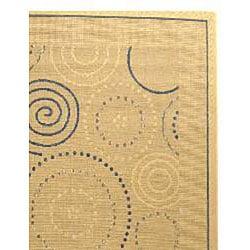 Safavieh Ocean Swirls Natural/ Blue Indoor/ Outdoor Rug (8' x 11')