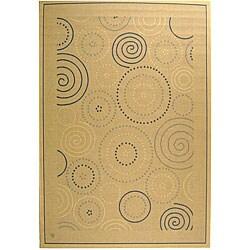 Safavieh Ocean Swirls Natural/ Blue Indoor/ Outdoor Rug - 8' x 11' - Thumbnail 0