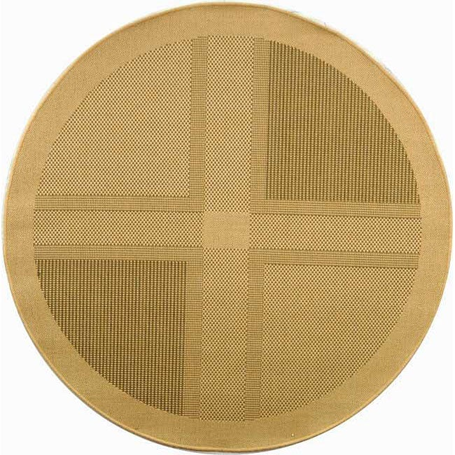Safavieh Lakeview Natural/ Olive Green Indoor/ Outdoor Rug (5'3 Round)
