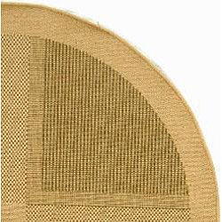 Safavieh Lakeview Natural/ Olive Green Indoor/ Outdoor Rug (5'3 Round) - Thumbnail 1