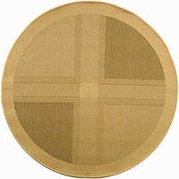 "Safavieh Lakeview Natural/ Olive Green Indoor/ Outdoor Rug - 5'3"" x 5'3"" round"