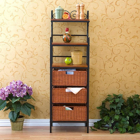 The Curated Nomad Belize Black Storage Shelves with Rattan Baskets