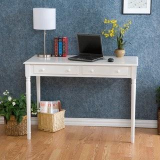 Waterfront 2-drawer White Writing Desk