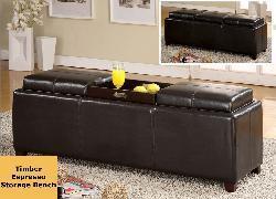 Abbyson Living Frankfurt Leather Flip Top Storage Ottoman