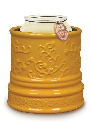 Candle Warmer Crock - Yellow Daisy Embossed - Thumbnail 1