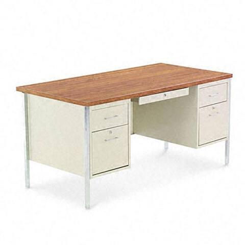 Alera Double Pedestal Steel Desk, Cherry/Putty