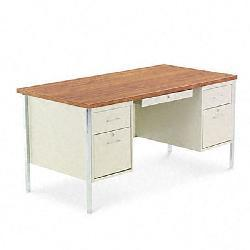 Thumbnail 1, Alera Double Pedestal Steel Desk, Cherry/Putty.