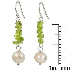 Maddy Emerson Couture Pearl and Peridot Earrings (7-7.5 mm) - Thumbnail 1