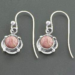 Sterling Silver Rhodochrosite Dangle Earrings (India) - Thumbnail 1