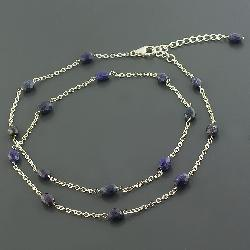 Sterling Silver Unpolished Sapphire 27-inch Necklace ...Unpolished Sapphire Necklace