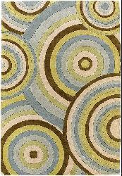 Thumbnail 2, Hand-tufted 'Pixel' Circles New Zealand Wool Rug (7'9 Round). Changes active main hero.